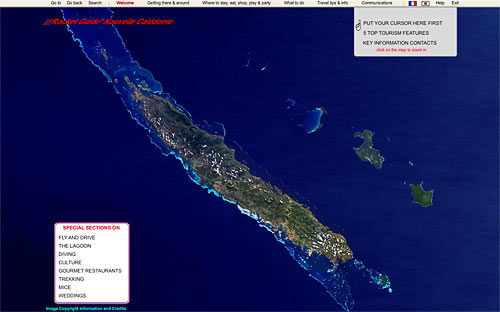 opening screen of the rocket guide to new caledonia interactive data CD