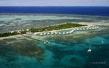 Helicopter view of the Coral Palms Resort - l'Escapade Island Resort