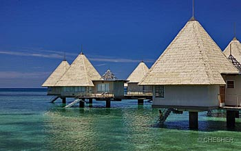 Overwater bungalow at l'Escapade Island Resort
